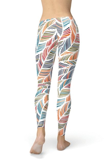 Colorful Feather Fern Leggings - BOTTOMS - NIGEL MARK