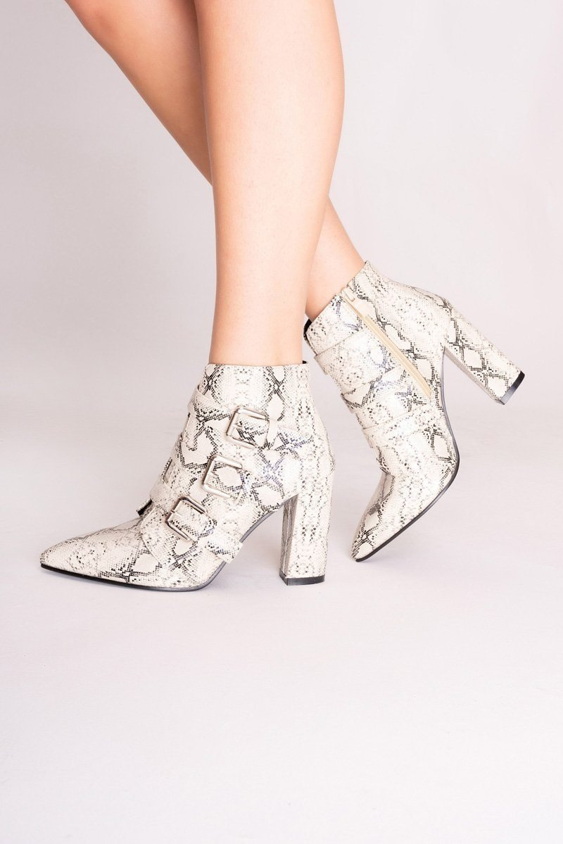 Cream Snake Print Ankle Boots - Women's Clothing - NIGEL MARK