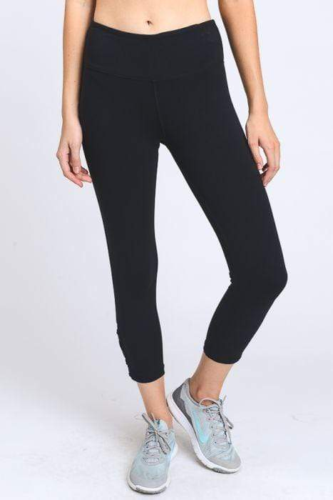 Criss-Cross Lace Accent Capri Leggings - BOTTOMS - NIGEL MARK