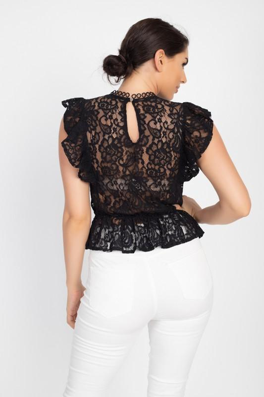Crochet Lace Ruffle Top - WOMEN TOPS - NIGEL MARK