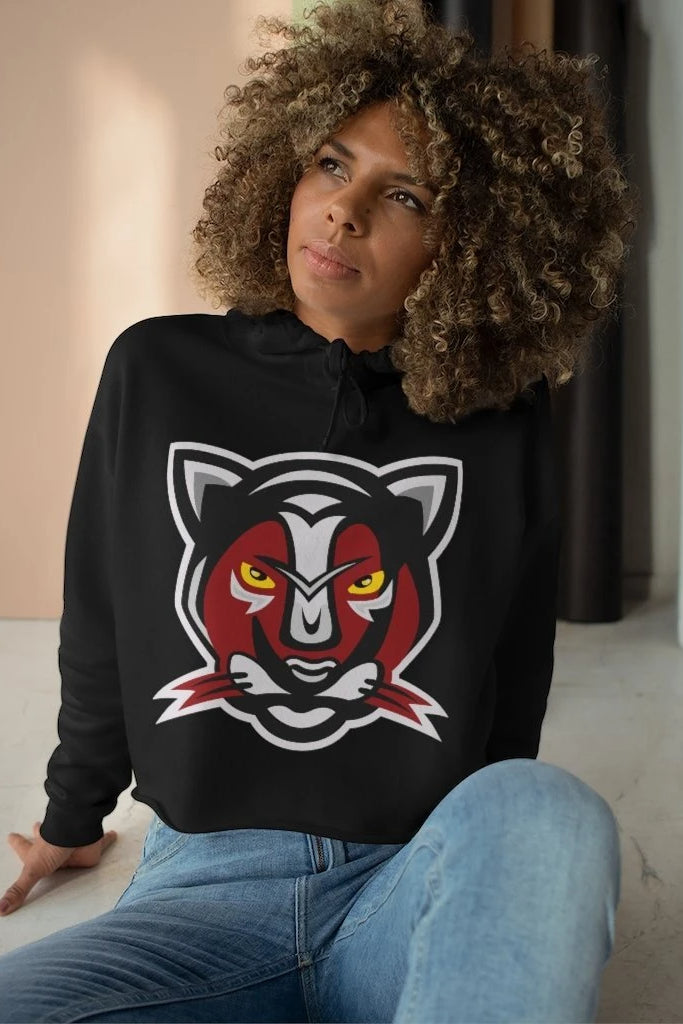 red and black panther mascot logo hoodie