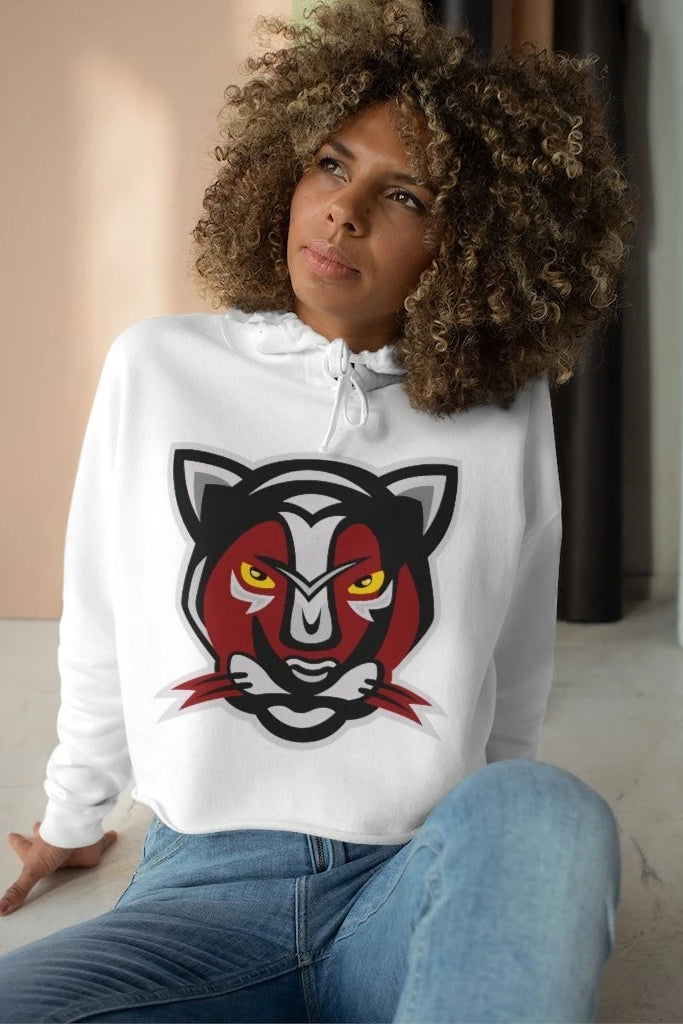 women's red and black panther mascot logo hoodie