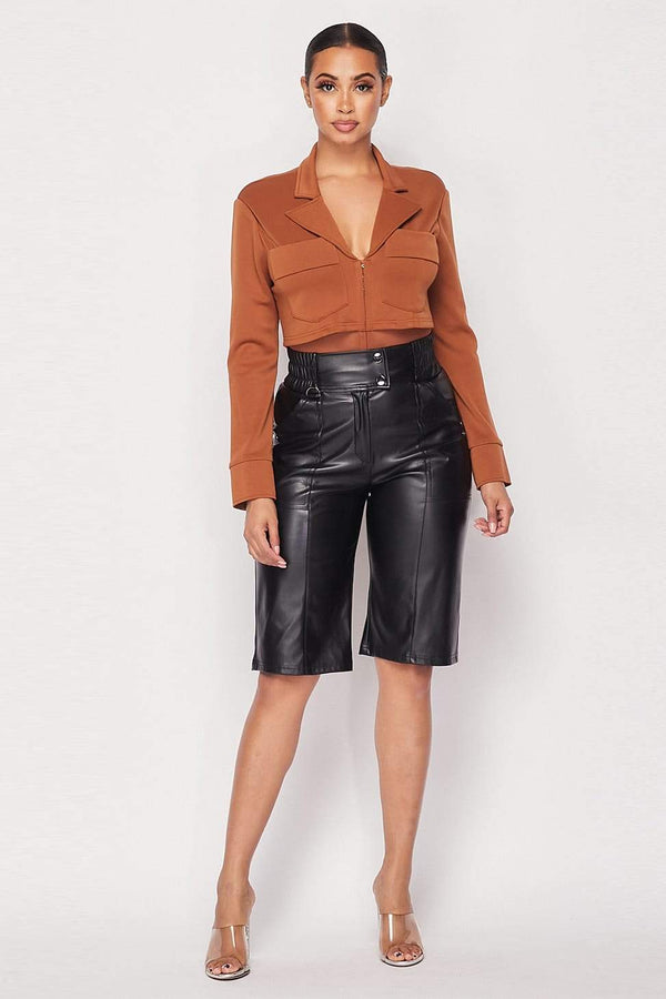 Cropped Blazer Bodysuit - Camel - WOMEN TOPS - NIGEL MARK
