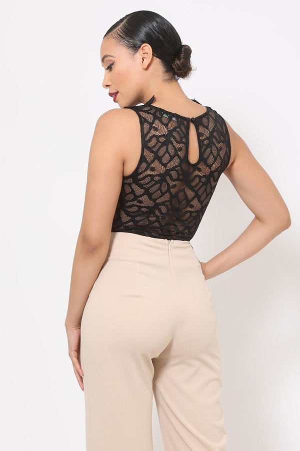Crotchet Bodysuit W/front Ruffles And Small Mesh Details - NIGEL MARK