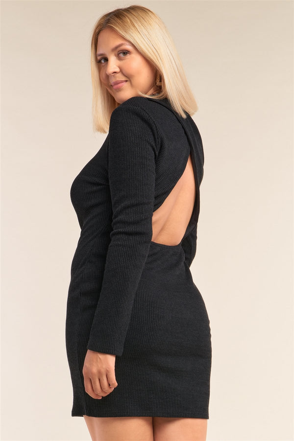 Curve Black Open Back Dress - PLUS DRESSES - NIGEL MARK