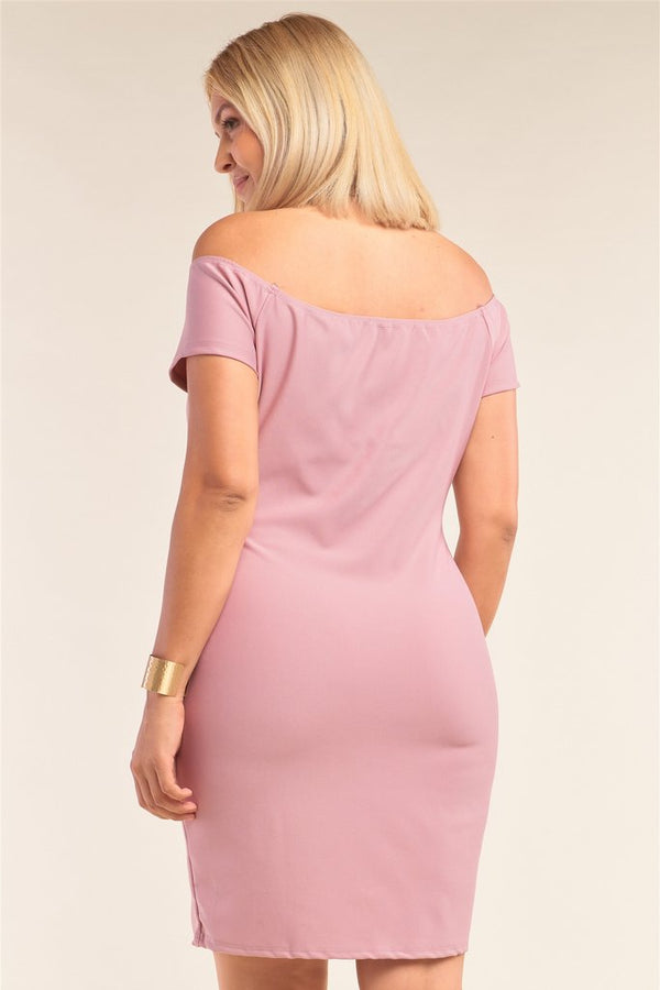 plus curvy pink off shoulder dress