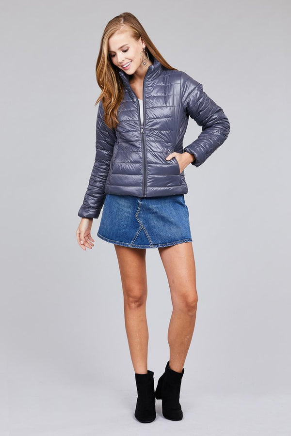 Dark Grey Long Sleeve Quilted Puffer Jacket - Jewelry & Watches - NIGEL MARK