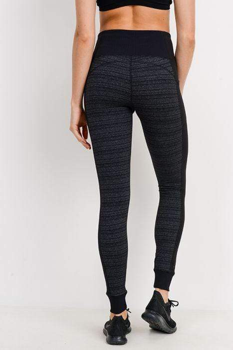 Dark Striped Colorblock Cuffed Leggings - BOTTOMS - NIGEL MARK