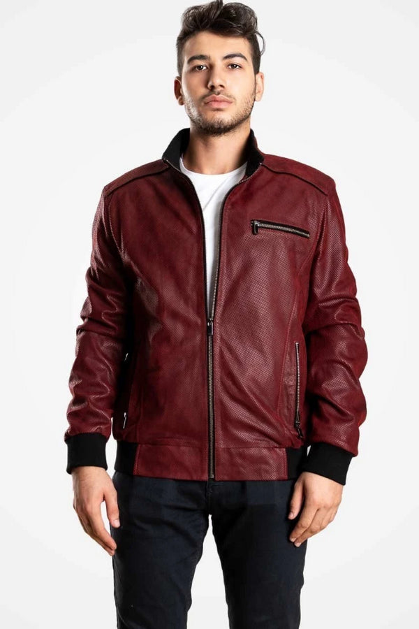 Bordeaux Leather Bomber Jacket For Men