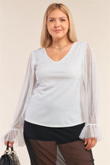 Deep Plunge Mesh Sleeve Top - White - PLUS TOPS - NIGEL MARK