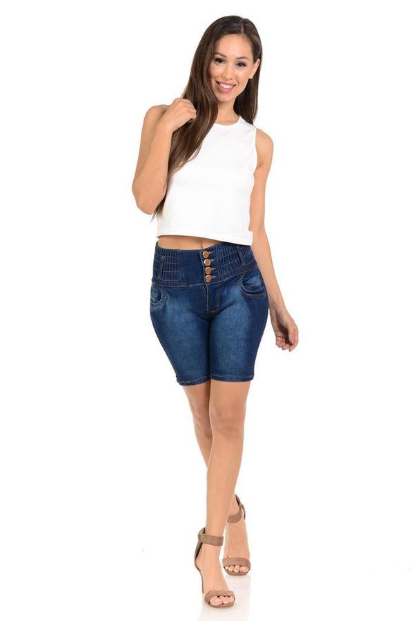 Denim 4 Button Up Shorts - WOMEN BOTTOMS - NIGEL MARK