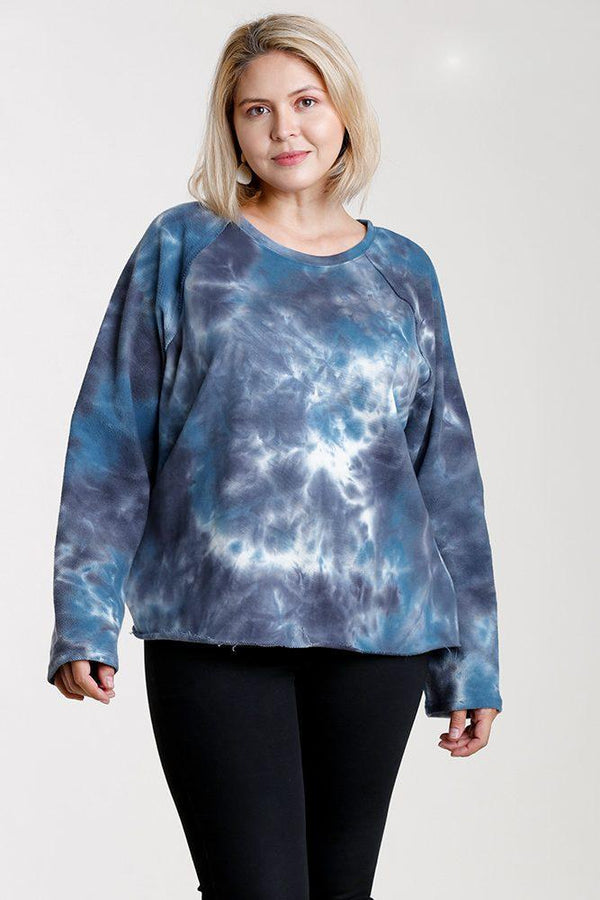 Denim Tie-dye Top - PLUS TOPS - NIGEL MARK