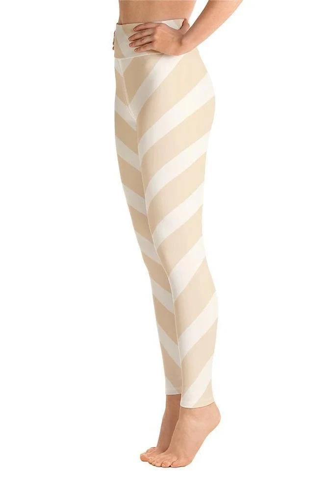 Diagonal Pale Stripes High Waist Legging - BOTTOMS - NIGEL MARK