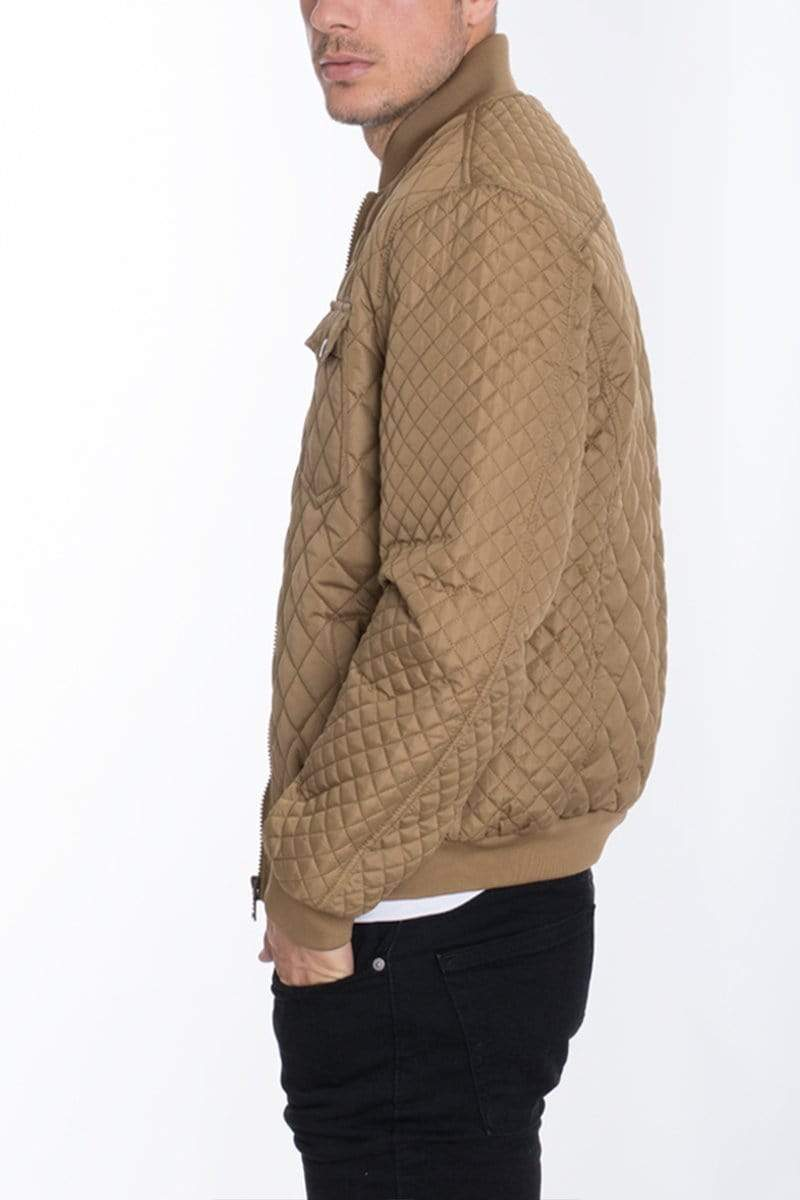 Diamond Stitch Bomber - Khaki - MEN JACKETS & COATS - NIGEL MARK