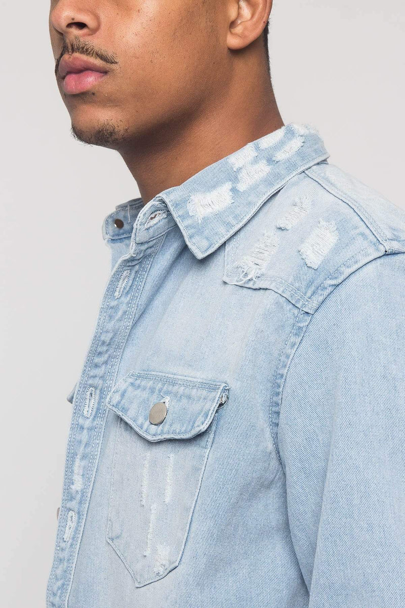 Distressed Denim Button Up Shirt Jacket - MEN SHIRTS - NIGEL MARK