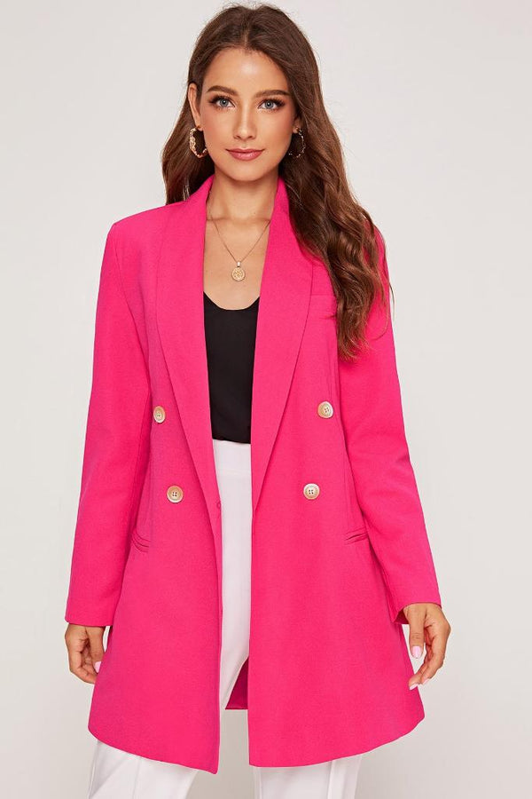 Double Breasted Blazer - Pink - WOMEN TOPS - NIGEL MARK