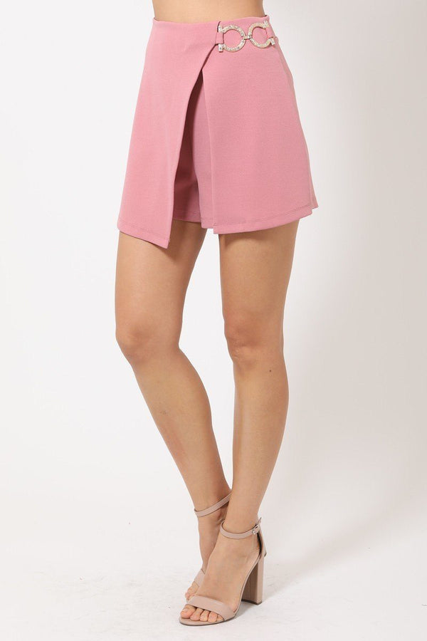 Double Layer Shorts With Buckle - Mauve - WOMEN BOTTOMS - NIGEL MARK