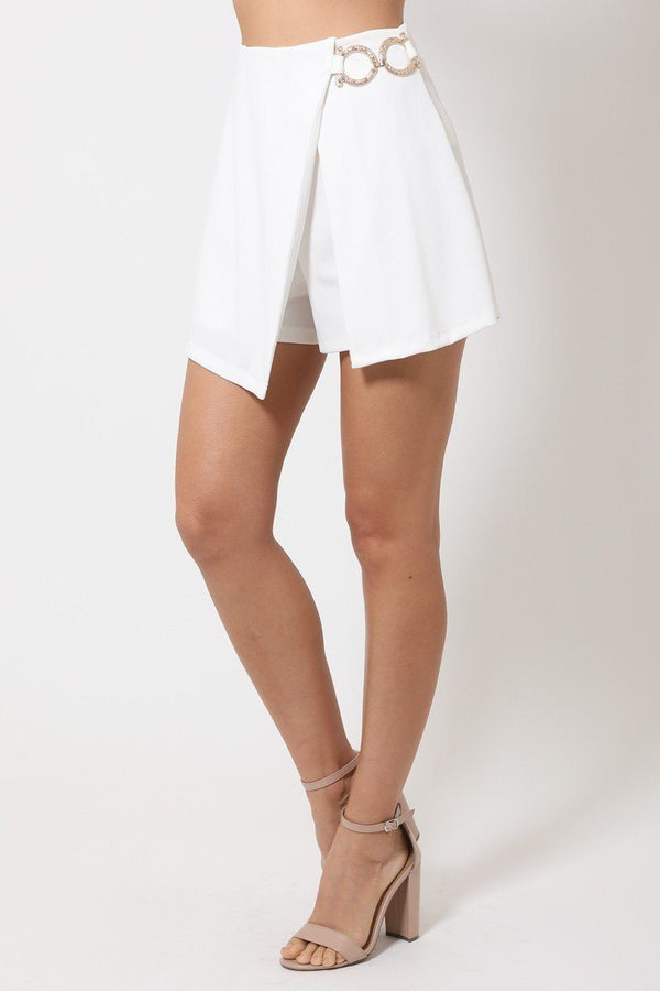 Double Layer Shorts With Buckle - White - BOTTOMS - NIGEL MARK