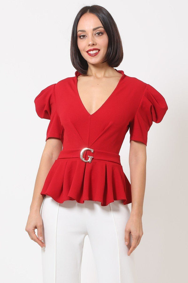 Draped Puff Shoulder Buckle Top - Red - WOMEN TOPS - NIGEL MARK