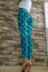 Droop Mermaid Turquoise Leggings - BOTTOMS - NIGEL MARK