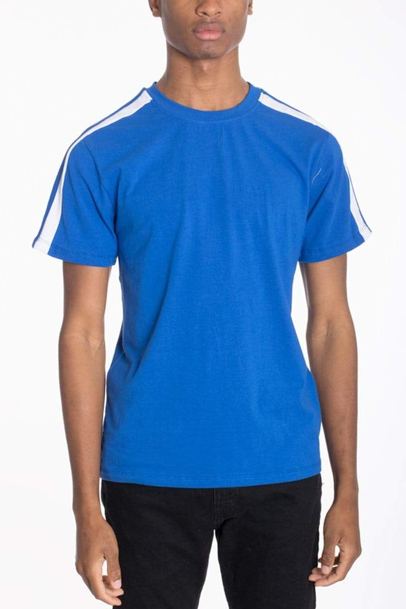 DUAL STRIPE TEE- BLUE - MEN TOPS - NIGEL MARK