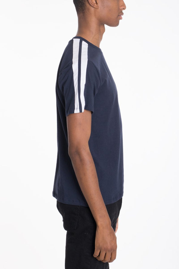 Dual Stripe Tee - Navy - T-shirts - NIGEL MARK