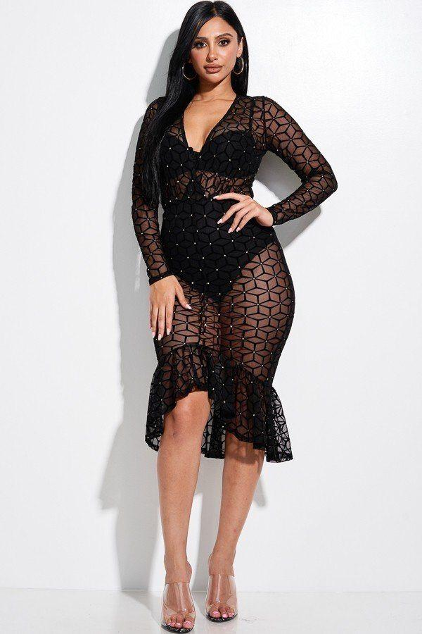 Embellished Burnout Mesh Long Sleeve Mermaid Midi Dress With Panty Lining - NIGEL MARK