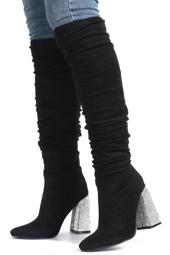black knee high suede heel boots