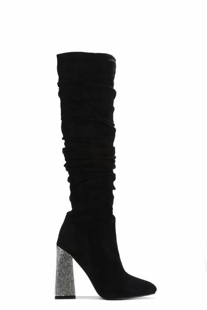 women's black knee high suede heel boots