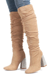women's nude suede high chunky heel boots