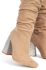 nude suede high chunky heel boots