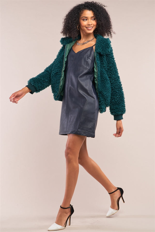 Faux Fur Bomber Jacket - Hunter Green - WOMEN JACKETS - NIGEL MARK