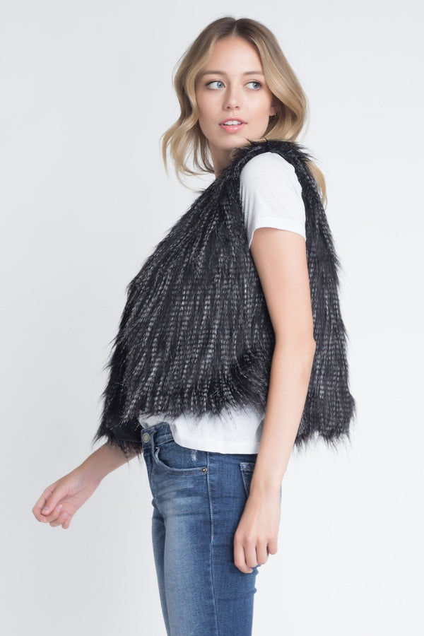 Faux Fur Sleeveless Vest - Jackets & Coats - NIGEL MARK