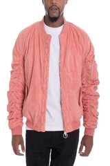 Faux Suede Bomber - Coral - JACKETS & COATS - NIGEL MARK