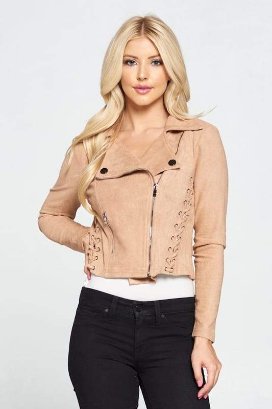 Faux Suede Moto Jacket - WOMEN JACKETS - NIGEL MARK