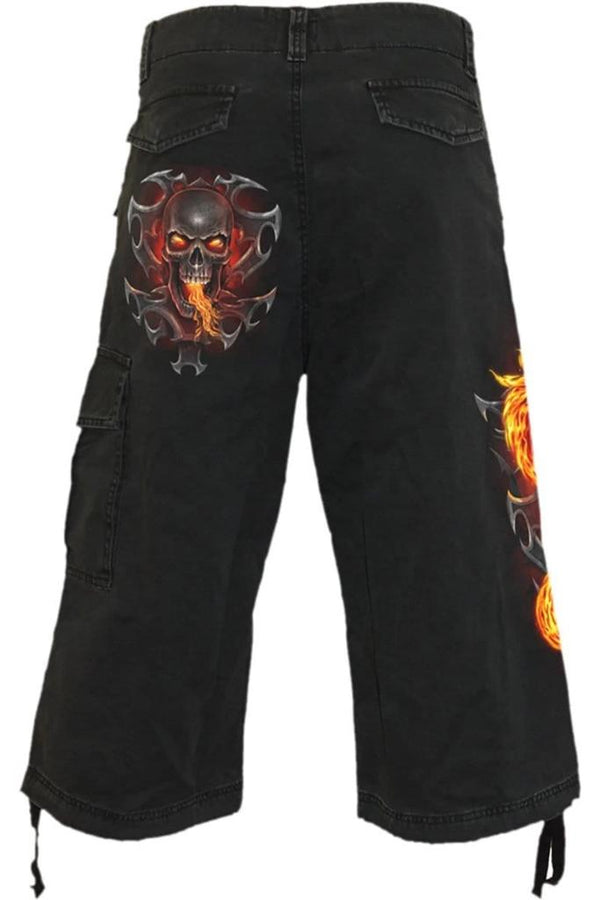 FIRE DRAGON - Vintage Cargo Shorts 3/4 Long Black - MEN SHORTS - NIGEL MARK