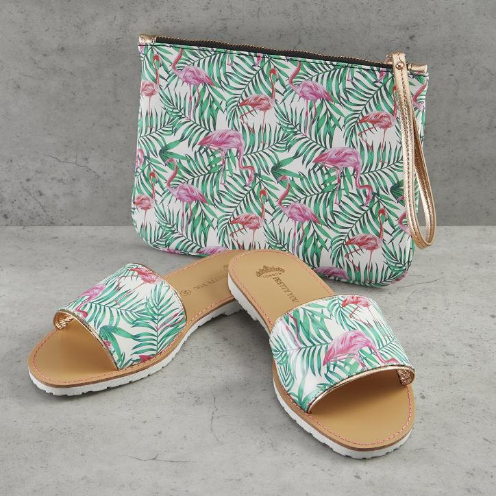 Flamingo Printed Slide and Clutch Set - Slippers - NIGEL MARK
