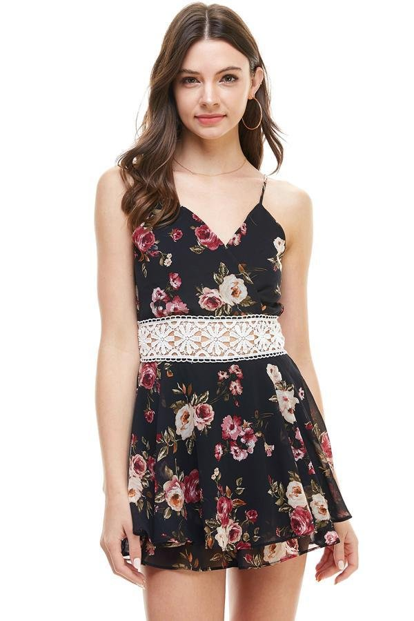 Floral Crochet Waist Short Romper - Women's Clothing - NIGEL MARK