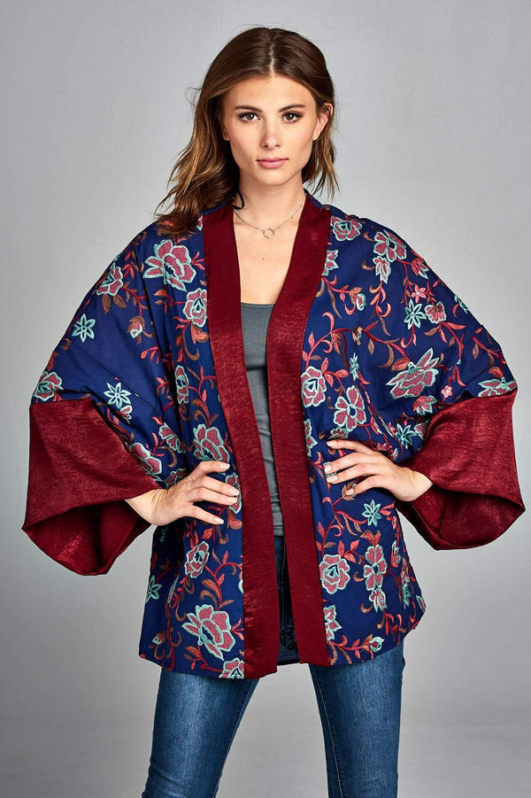 Floral Embroidered Kimono - Jackets & Coats - NIGEL MARK