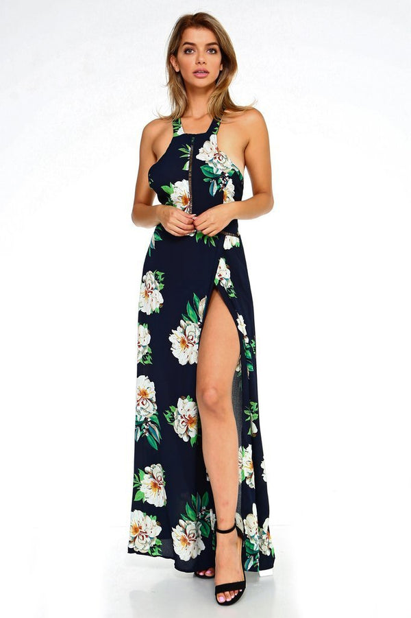 woman in floral print maxi dress