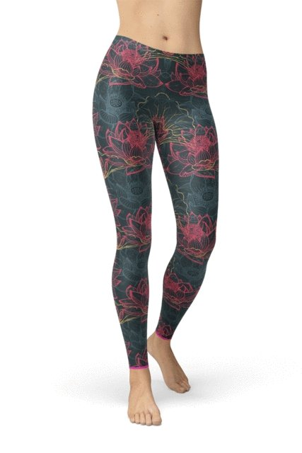 Floral Lotus Leggings - BOTTOMS - NIGEL MARK