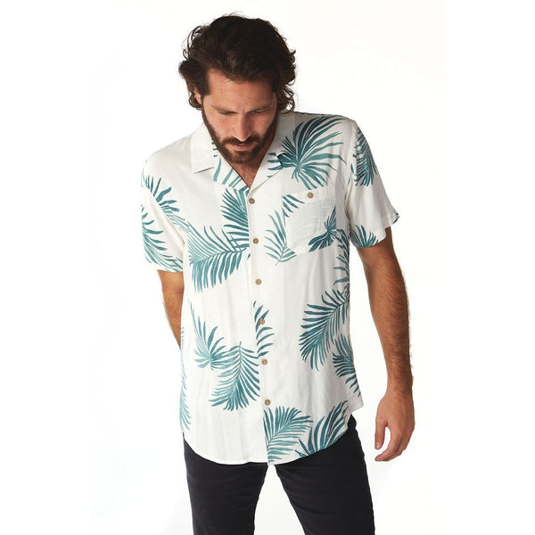 Floral Off White Button Down Shirt - Men's Clothing - NIGEL MARK
