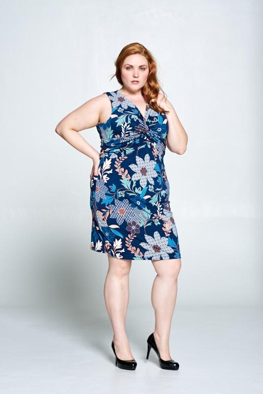 blue floral plus dress