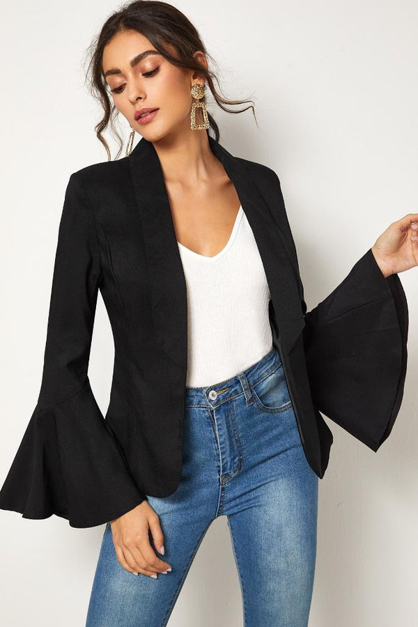 Flounce Sleeve Collar Blazer - WOMEN TOPS - NIGEL MARK