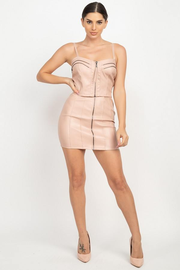 Front Zip Tulip Mini Skirt - Dusty Blush - WOMEN BOTTOMS - NIGEL MARK