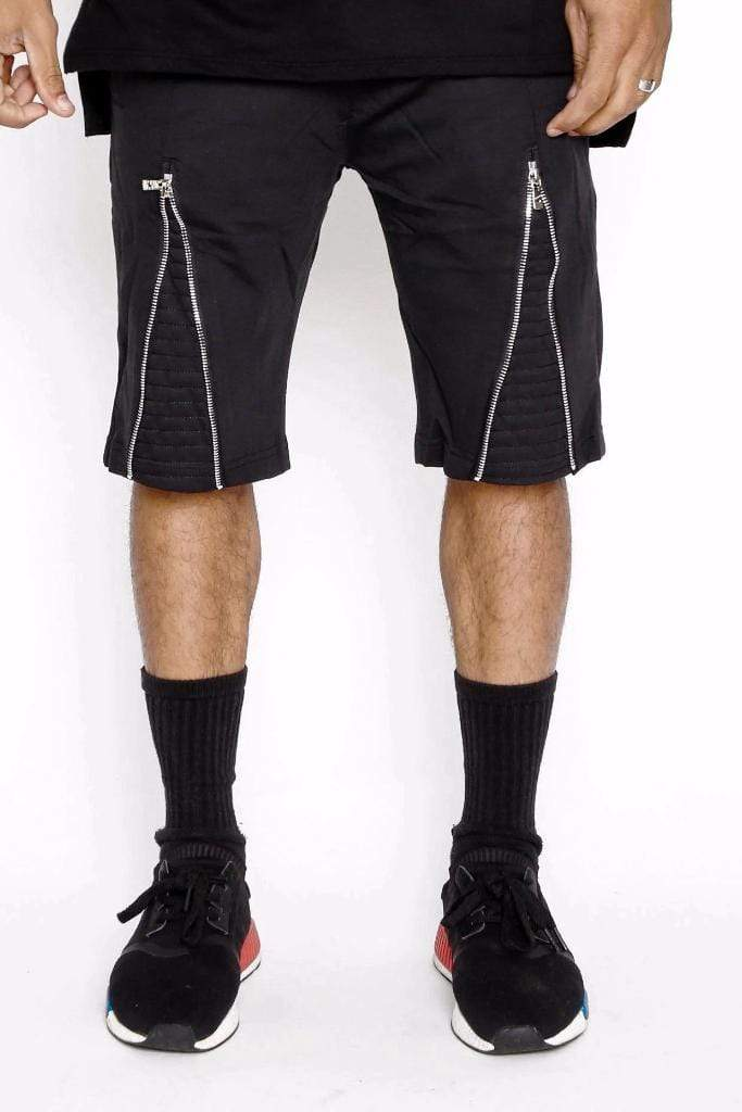 Front Zipper Moto Shorts - MEN SHORTS - NIGEL MARK