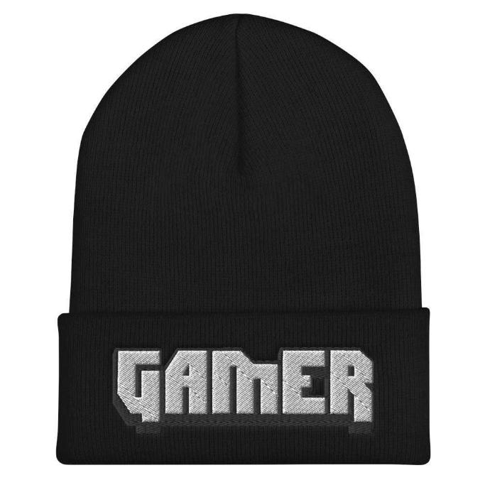 'Gamer' Embroidered Cuffed Beanie - ACCESSORIES - NIGEL MARK