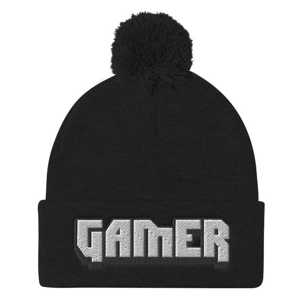 'Gamer' Embroidered Pom Pom Knit Beanie - ACCESSORIES - NIGEL MARK