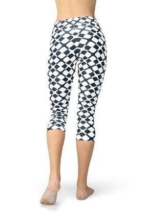 Geometric Blue Tile Capri Leggings - BOTTOMS - NIGEL MARK