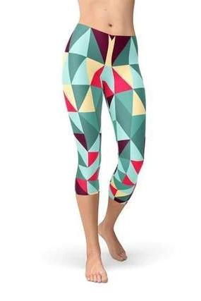 Geometric Triangles Capri Leggings - BOTTOMS - NIGEL MARK